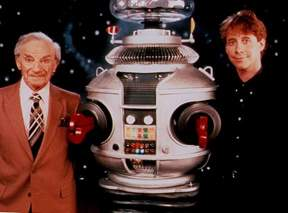 Jonathan Harris, o Robô (Bob May) e Billy Mumy, em 1995